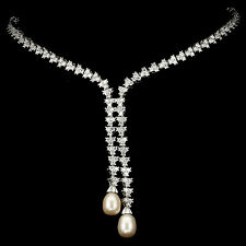 LUXURIOUS! NATURAL CREAMY PINK PEARL & W CZ STERLING 925 SILVER NECKLACE 18.5""