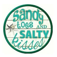 """Sandy Toes and Salty Kisses Beach Novelty Metal Round Circular Sign 12"""""""