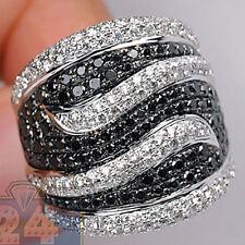 Fashion Women Black Sapphire Gemstone Wedding Engagement Silver Ring Size 6-10