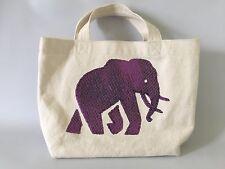 Banana Republic 100% Cotton Canvas Tote Handbag Elephant White / Purple