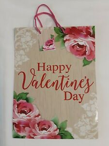 "Happy Valentine's Day Rose Print Gift Bag 12"" X 9"" W/Gift Tag, BRAND NEW!"
