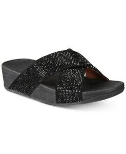 FitFlop Women's Ritzy Crisscross Wedge Slide Sandal Size 9 Black, MSRP $100
