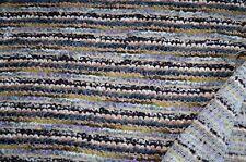 Bouclé Strick Stoff beige blau grün gemustert Wollmischung #0472