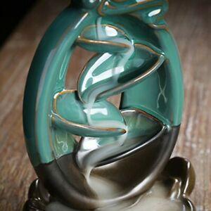 Waterfall Incense Holder Backflow Inscent Cone Burner Handcraft Ceramic