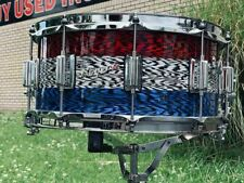 2021 Rogers Dyna-Sonic Patrionyx Snare Drum 6.5 x 14 RWB Red White Blue Oynx USA