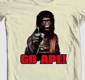 Planet of the Apes T-shirt 1970s GO APE retro original movie 100% cotton tee