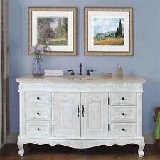 "60"" Marble Counter Single Sink Bathroom Vanity White Oak Finish Cabinet 273Cm"