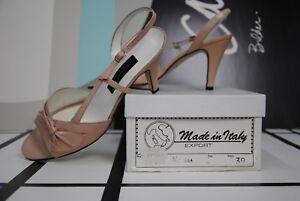 Sling-Sandale 39 Stiletto hellrosa Pumps 80er Italy TRUE VINTAGE high heels 80s