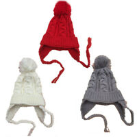 3 Colors Baby Girls Boys Knit Wool Bobble Hat Winter Warm Soft Beanie Caps