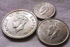 ★ KGVI 1,1/2,1/4 RUPEE 1947 B SET OF THREE COINS SET ALL EXCELLENT GRADE ★
