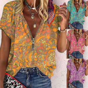 Women Casual Print Blouse Zipper V Neck Short Sleeve T Shirt Loose Fit Tunic Top