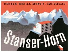 Hotel STANSer Horn Switzerland luggage label Kofferaufkleber  -- TRAIN   x0822