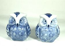 Pair Of Small Owls Blue & White Ceramic Ornaments - Pottery, Decorative, Owl