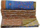 Ethnic Indian Vintage Kantha Quilt Handmade Reversible Bedspread Throw Blanket