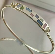 925 STERLING SILVER geometric Enamel Pattern BANGLE BRACELET 50mm x 58mm, 11.5g