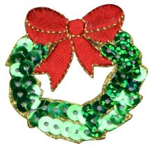 Sequin Christmas Wreath with Red Bow Applique Patch (Iron on)