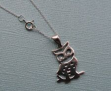 """OWL STERLING SILVER NECKLACE  WITH 18 """" TRACE CHAIN FREE GIFT BOX"""