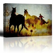 Roping mustangs - Wild horses and rancher on the range - Canvas Art - 16x24