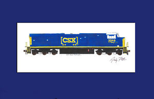 "CSX ES44AH #3049 11""x17"" Matted Print Andy Fletcher signed"