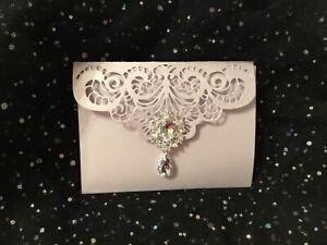 WEDDING INVITATION LILAC PASTEL PEARL  VINTAGE POCKET 4 CARD  LASER CUT
