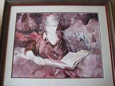 Bette Poliquin Original Watercolor Woman Reading Portrait, Framed, Signed, Frame