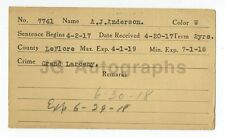 Police Booking Card - A.J. Anderson/Grand Larceny - Le Flore County, OK, 1918