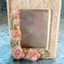 Nos Avon Pink Roses And Lace Picture Frame