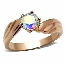 Cubic Zirconia Rose Gold Plated Solitaire Fashion Rings