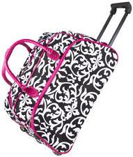 "Women's Pink Damask  21"" Rolling Duffel Bag Suitcase Garment Carry-on Duffel Bag"