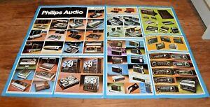 VERY RARE Vintage 76 PHILIPS AUDIO 2-sde Poster HiFi Stereo Cassette advertising