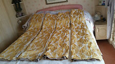"""Four Matching Yellow Diamond Patterned Curtains 44"""" W X 59"""" D"""