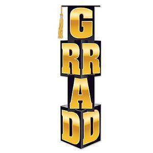 "Beistle Grad Column, 12"" x 3' 9"", Black/Gold 45""tall great decoration"