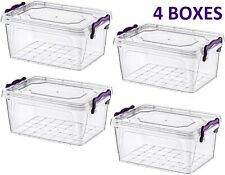 4 x Food Storage Box with plastic handles Clear Plastic Storage Box with Lid