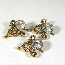 Vintage Cufflinks Spring Back Clear Crystal Rhinestone Faceted Buttonhole  (3)