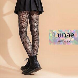 fishnet tights japanese FAN crochet lace pattern mesh black LUNAE