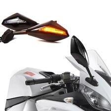MOTORCYCLE FRONT BLACK LED TURN SIGNAL LIGHT REARVIEW MIRROR FOR KAWASAKI YAMAHA