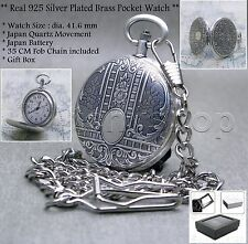 10 Micron SILVER Plated Quartz Pocket Watch Brass Men Gift Chain Gift Box P100