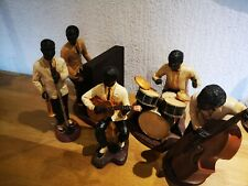 Set of 5 Vintage Figures, Resin, Musicians, Jazz Band.