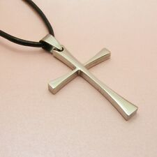 316L STAINLESS STEEL Slim Cross PENDANT ~BONUS Leather Cord or Chain NECKLACE~