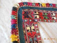 """1910 Antique Turkoman Saye Gosha petit-point wool tassels crochet 30 x 30"""""""