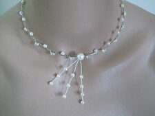 Collier Blanc/Cristal  p robe de Mariée/Mariage/Soirée, perles nacrées original