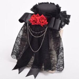 Gothic Steampunk Red Rose Lace Mesh Ribbon Hat Hair Clip Retro Headwear Hairpin