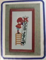 Nisse with God Jul Banner Norwegian Christmas Cross Stitch Kit Bjornson Studio