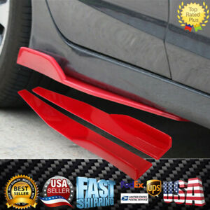 Universal Fit Red Side Skirts Set of 2 Rocker Splitters Spoile Diffuser Wings