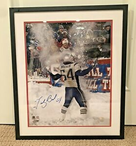 New England Patriots Teddy Bruschi Signed 25 x 21 Picture With Frame