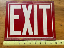 """Vintage Metal EXIT Sign Industrial - Factory 10"""" X 8"""" White On Red"""
