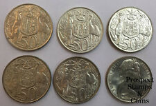 1966 Round Fifty Cent Silver (50c) Circulated Australian Decimal Coin x 6 Coins