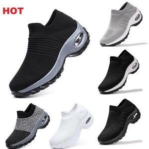 Womens Air Cushion Sneakers Casual Shoes Sports Running Gym Trainers Sock Shoes