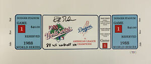 """DODGERS KIRK GIBSON SIGNED 7X20 88 WS GAME 1 TICKET CANVAS"""" 88 WS WALK OFF"""" PSA"""