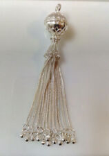 Sterling Silver Decorative 12 Strand Tassel Charm/pendant
